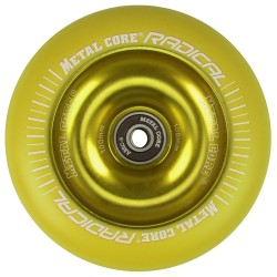 RYE100YE, Rueda de 100mm RADICAL fluorescent goma amarilla y nucleo amarillo Metal Core