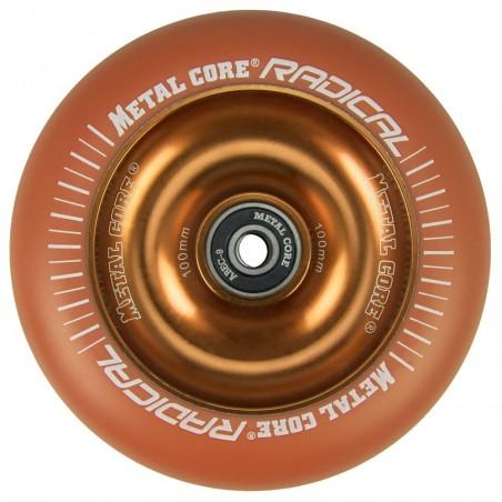 ROR100OR, Rueda de 100mm RADICAL fluorescent goma naranja y nucleo naranja Metal Core