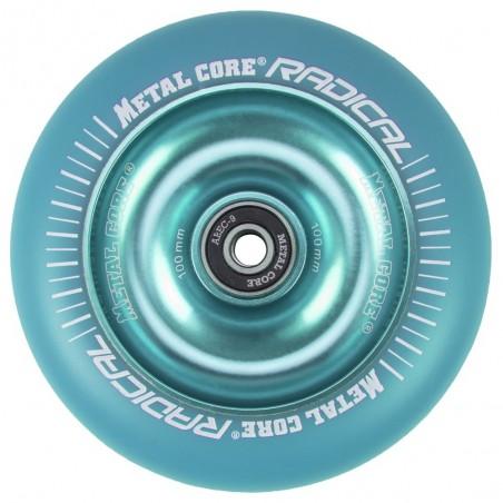 RBLUE100BLUE, Rueda de 100mm RADICAL fluorescent goma azul y nucleo azul Metal Core