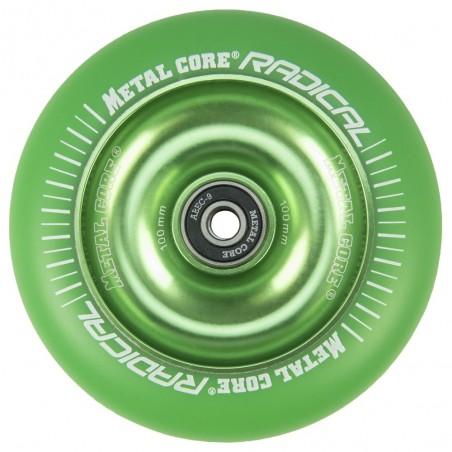 RGR100GREEN, Rueda de 100mm RADICAL fluorescent goma verde y nucleo verde Metal Core