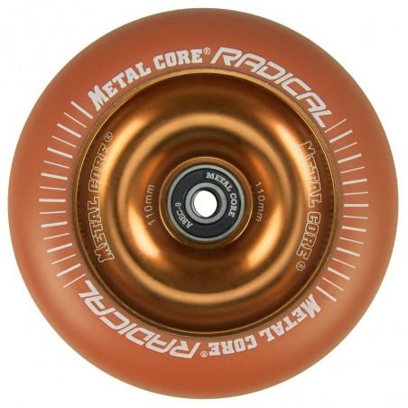 ROR110OR, Rueda de 110mm RADICAL fluorescent goma naranja y nucleo naranja Metal Core