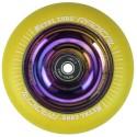 RYE100RW, Rueda de 100mm RADICAL fluorescent goma amarilla y nucleo rainbow Metal Core