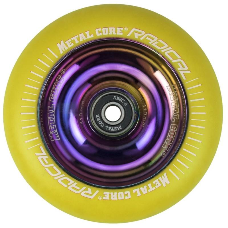 RYE110RW, Rueda de 110mm RADICAL fluorescent goma amarilla y nucleo rainbow Metal Core