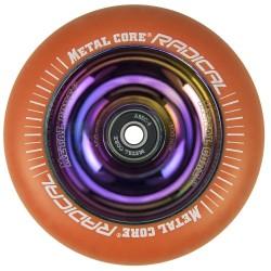 ROR100RW, Rueda de 100mm RADICAL fluorescent goma naranja y nucleo rainbow Metal Core