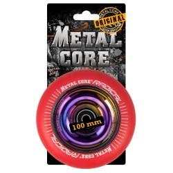 RRED100RW, Rueda de 100mm RADICAL fluorescent goma rojo y nucleo rainbow Metal Core