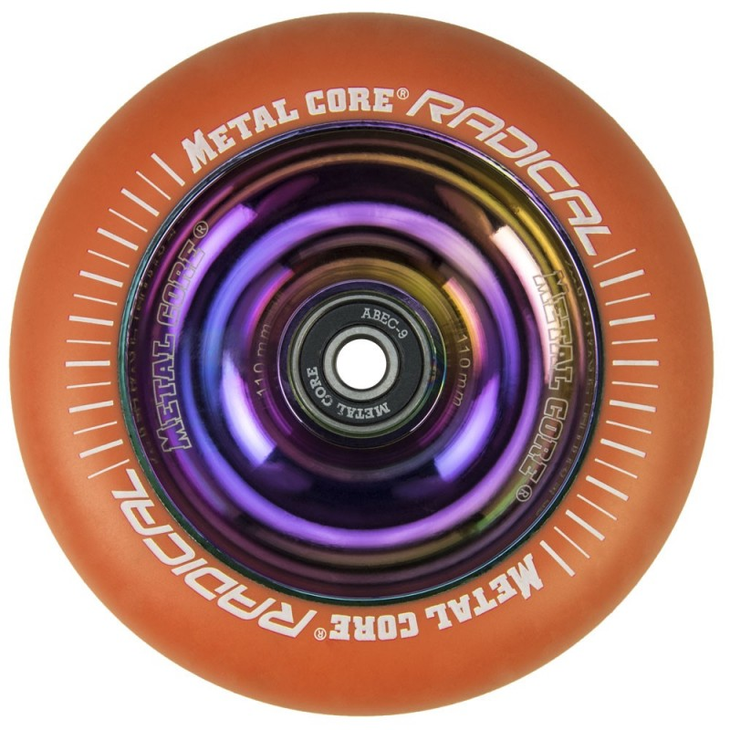 ROR110RW, Rueda de 110mm RADICAL fluorescent goma naranja y nucleo rainbow Metal Core