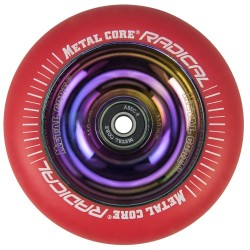 RRED110RW, Rueda de 110mm RADICAL fluorescent goma roja y nucleo rainbow Metal Core