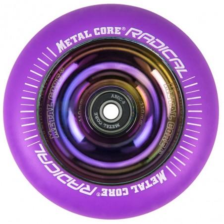 RVI110RW, Rueda de 110mm RADICAL fluorescent goma violeta y nucleo rainbow Metal Core