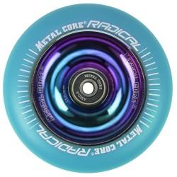 RBLUE110RW, Rueda de 110mm RADICAL fluorescent goma azul y nucleo rainbow Metal Core