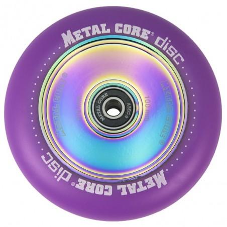 DISC100VI, Rueda DISC de 100mm goma violeta y nucleo disco rainbow Metal Core
