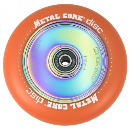 DISC100OR, Rueda DISC de 100mm goma naranja y nucleo disco rainbow Metal Core