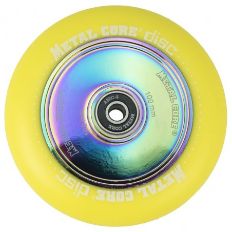 DISC100YE, Rueda DISC de 100mm goma amarilla y nucleo disco rainbow Metal Core