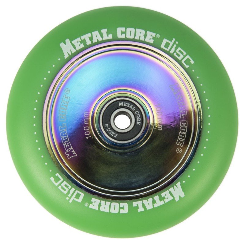 DISC100GR, Rueda DISC de 100mm goma verde y nucleo disco rainbow Metal Core