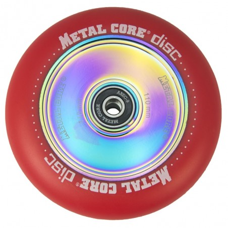 DISC110RED, Rueda DISC de 110mm goma roja y nucleo disco rainbow Metal Core