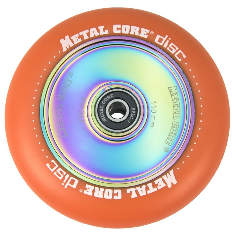 DISC110OR, Rueda DISC de 110mm goma naranja y nucleo disco rainbow Metal Core
