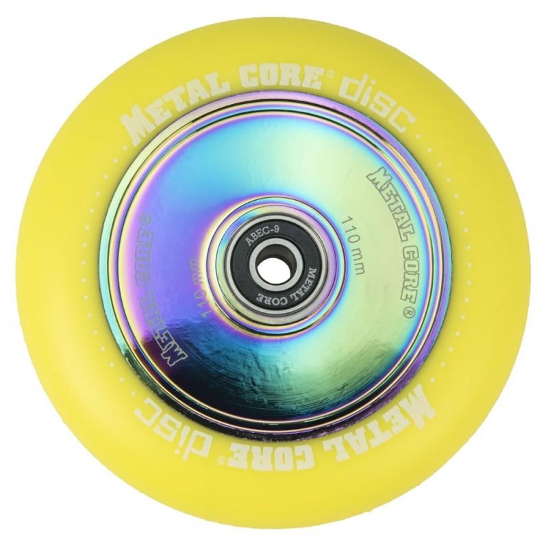 DISC110YE, Rueda DISC de 110mm goma amarilla y nucleo disco rainbow Metal Core
