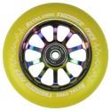 TYE110RWF3, Rueda THUNDER FLUOR de 110mm goma amarilla y nucleo rainbow Metal core