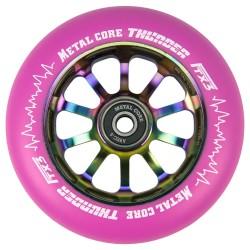 TPINK110RWF3, Rueda THUNDER FLUOR de 110mm goma rosa y nucleo rainbow Metal core