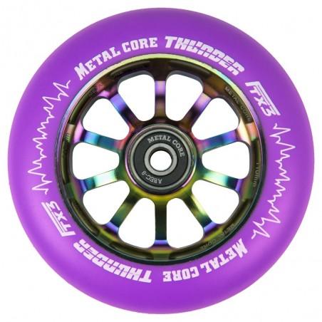 TVI110RWF3, Rueda THUNDER FLUOR de 110mm goma violeta y nucleo rainbow Metal core