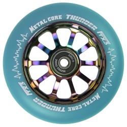 TBLUEI110RWF3, Rueda THUNDER FLUOR de 110mm goma azul y nucleo rainbow Metal core