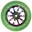 TGREENI110RWF3, Rueda THUNDER FLUOR de 110mm goma verde y nucleo rainbow Metal core