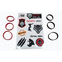 11 PEGATINAS BESTIAL WOLF + tres tallas rojas de pulseras y tres tallas negras de pulseras