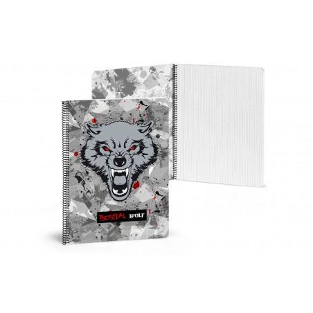 Libreta A4 80 páginas cuadriculadas Bestial Wolf 2018