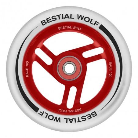 Rueda de aluminio RACE goma blanca y núcleo rojo 100mm Bestial Wolf