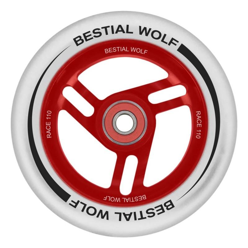 Rueda Bestial Wolf RACE goma blanca y núcleo rojo