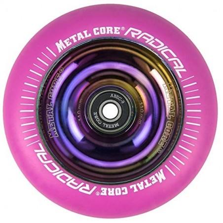 RPINK110RW, Rueda de 110 mm RADICAL fluorescente, goma rosa y núcleo rainbow Metal Core