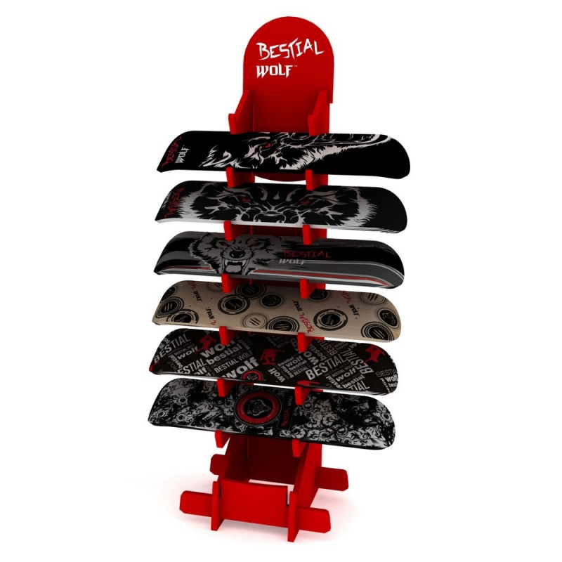 Expositor bestial Wolf para skateboards Rack6red