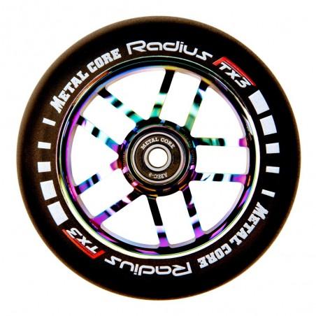 Rueda Metal Core RADIUS120RW, goma negra y núcleo rainbow