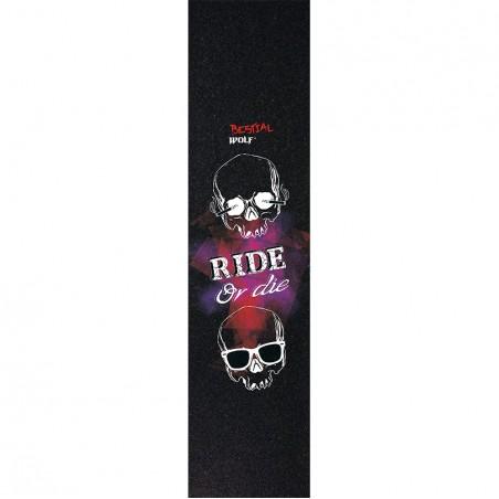 Lija personalizada Bestial Wolf para scooter con diseño Ride or Die