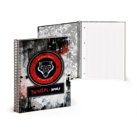 Libreta A4 120 paginas cuadriculadas Bestial Wolf