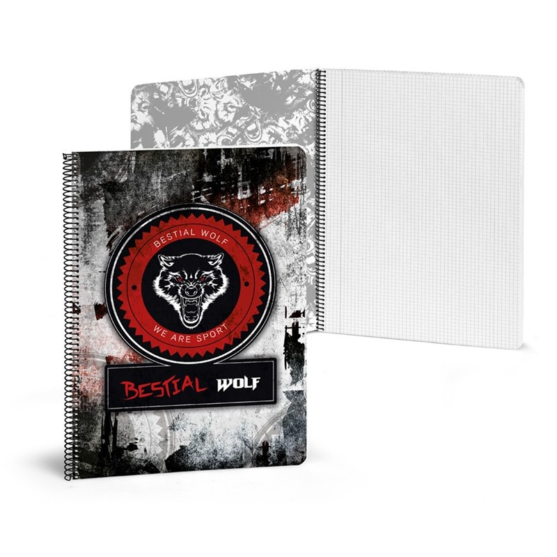 Libreta A4 80 paginas cuadriculadas Bestial Wolf