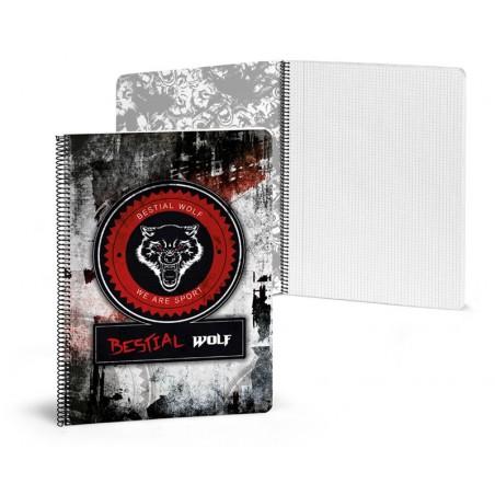 Libreta A4 80 paginas rayadas Bestial Wolf