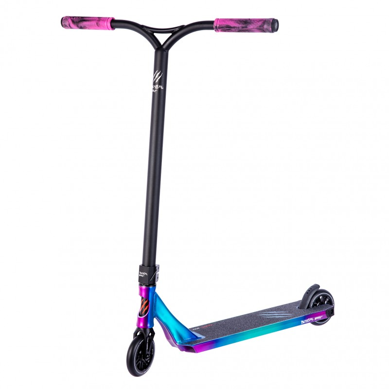 Bestial Wolf Rocky R12 Crazy, Patinete Pro Scooter Freestyle Nivel Profesional Color Tabla Crazy y Manillar Negro