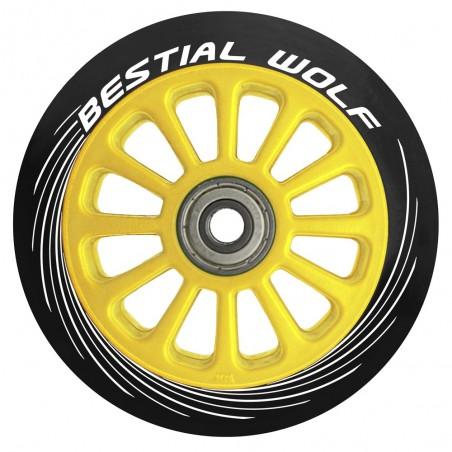 Rueda de plástico PILOT goma negro y núcleo amarillo 100mm Bestial Wolf