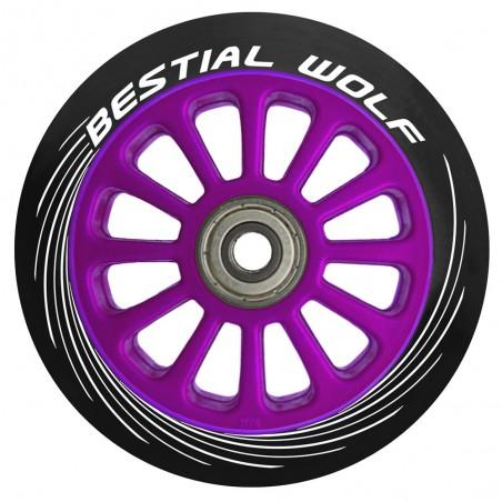 Rueda de plástico PILOT goma negro y núcleo violeta 100mm Bestial Wolf