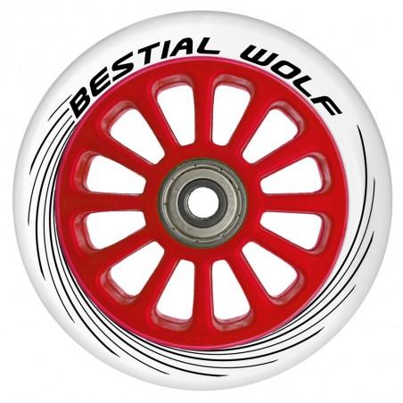 Rueda de plástico PILOT goma blanco y núcleo rojo 100mm Bestial Wolf