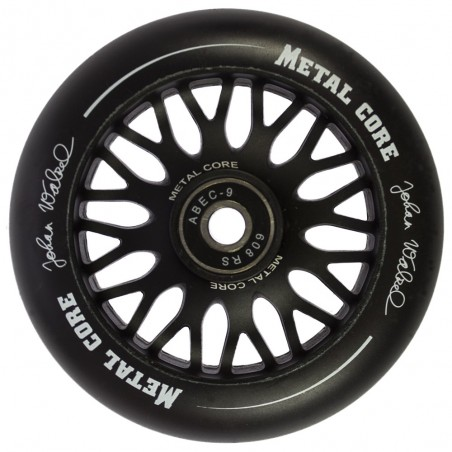 Rueda de 110mm Metal Core JOHAN goma negra núcleo negro