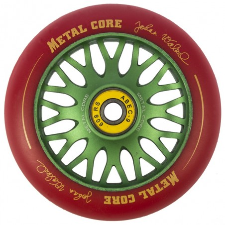 Rueda de 110mm Metal Core JOHAN goma roja núcleo verde