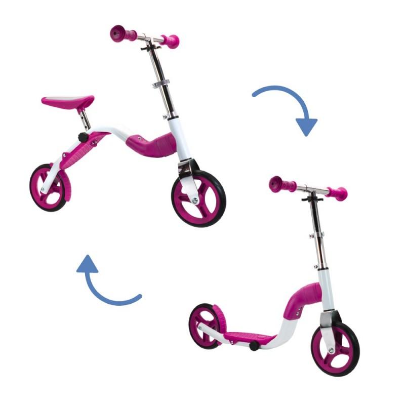 SCOOBIK Scooter y bici, 2 en uno, color rosa