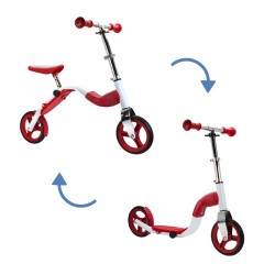 SCOOBIK Scooter y bici, 2 en uno, color rojo