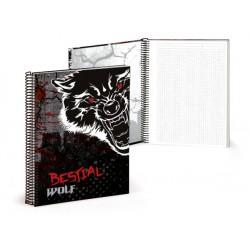 Libreta  A4 120 paginas cuadriculas Bestial Wolf