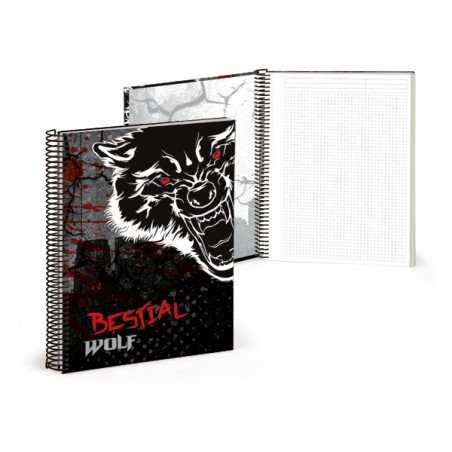 Libreta A4 120 paginas rayadas Bestial Wolf