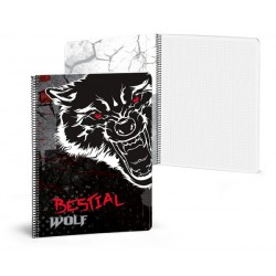 Libreta A5 80 paginas cuadriculas Bestial Wolf
